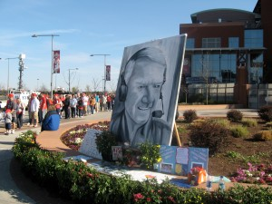 This fan-made artwork was one of many tributes to Harry Kalas left outside Citizens Bank Park