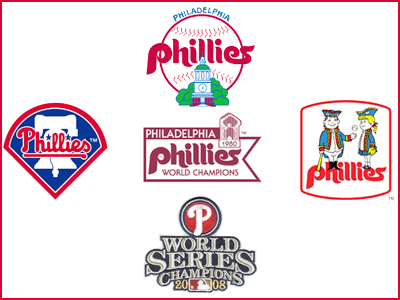 "Phillies logos during my 30 years of ""phandom."""