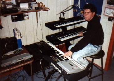 NOT a Master of MIDI...Brian at his keyboard rig c. 1990