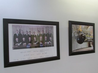 Photos on wall of centrifuge building